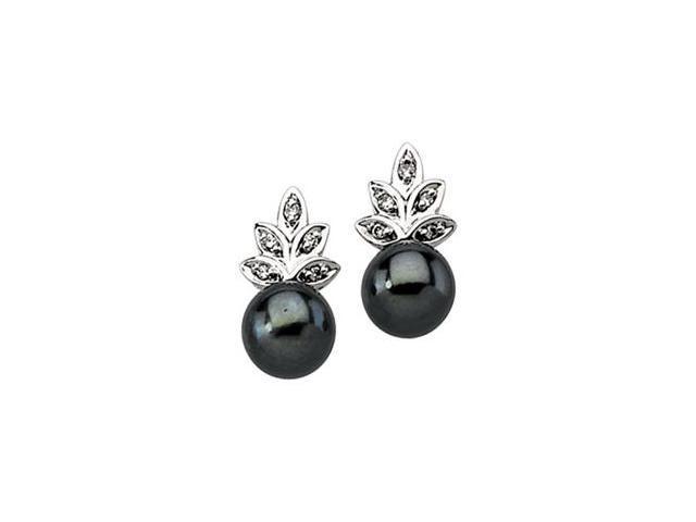 14K White Gold Cultured Black Pearl & Diamond Earring