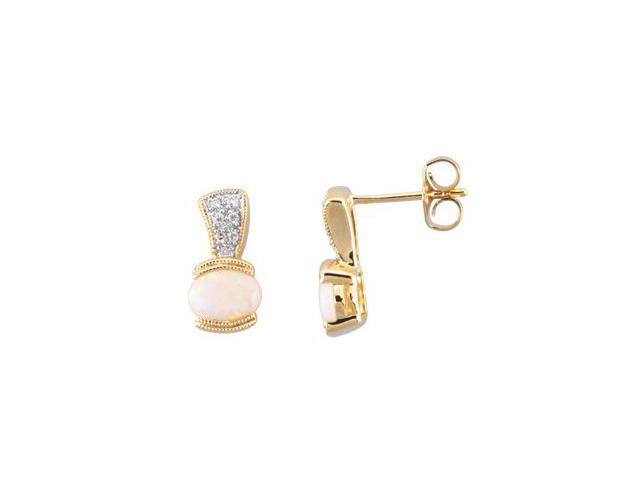 14K Yellow Gold Cabachon Genuine Opal And Diamond Earrings
