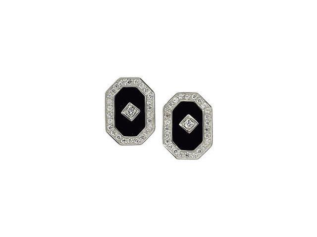 Sterling Silver Genuine Onyx And Cubic Zirconia Earring