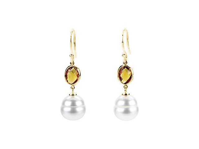 14K Yellow Gold Freshwater Cultured Circle Pearl & Genuine Citrine Earrings
