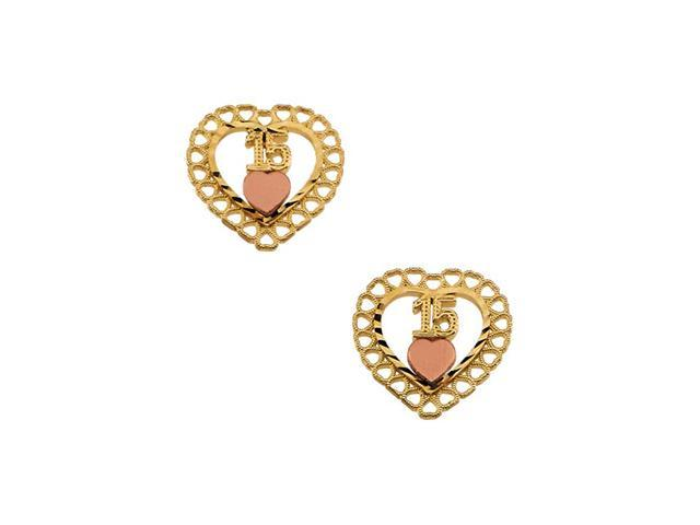 14K Yellow Gold Two Tone 15Th Birthday Heart Earrings With Back