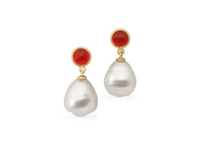 14K Yellow Gold South Sea Cultured Pearl & Genuine Carnelian And Earring