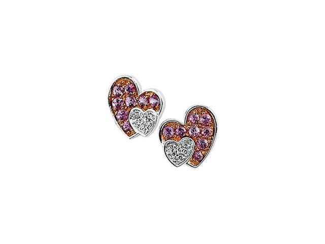 14Kw/Rose Rhodium Plated Genuin Pink Sapphire And Diamond Earring