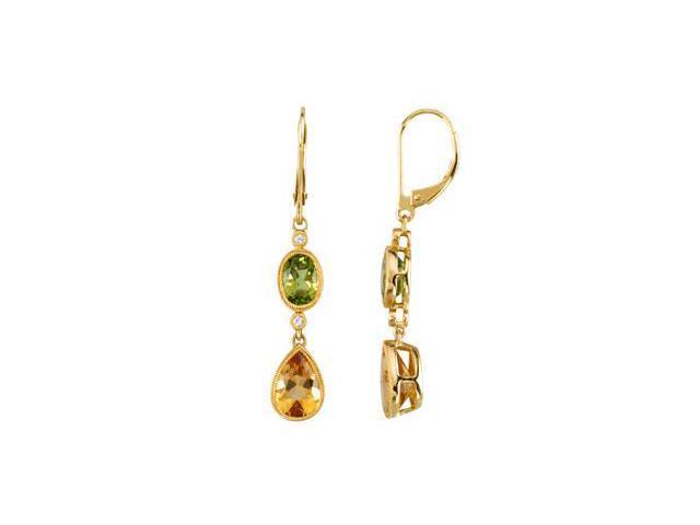 14K Yellow Gold Genuine Peridot, Citrine & Diamond Earrings