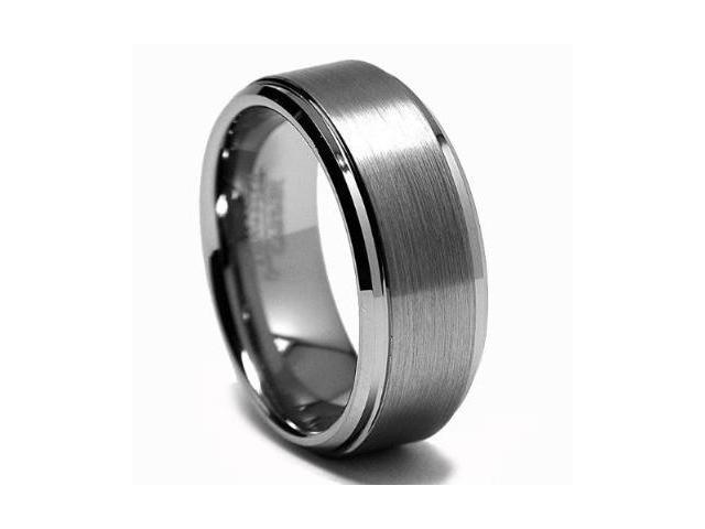 CleverEve Tungsten Carbide Ring Brushed & Polished 8mm Wedding Band Size 13