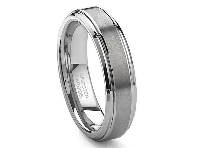 CleverEve Tungsten Carbide Ring Brushed Center 6mm Wedding Band Size 8.5