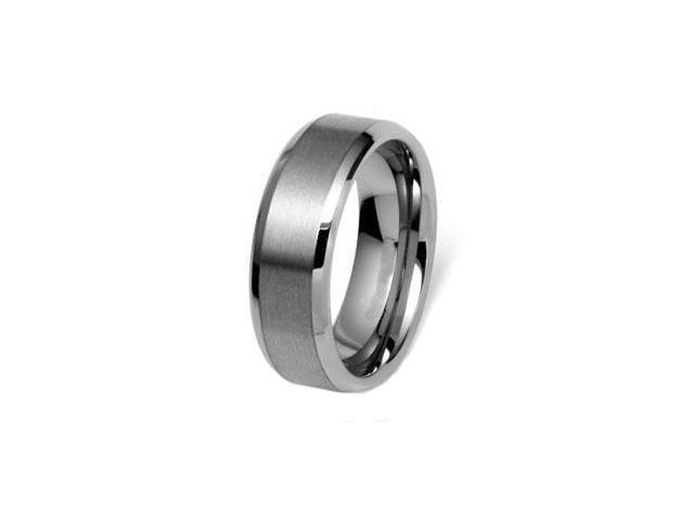 CleverEve Tungsten Carbide Ring Beveled Edge Brushed Center 8mm Wedding Band Size 10.5