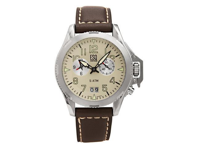 ESQ by Movado Mens Dual Timezone Leather Band Watch 7301287 - OEM