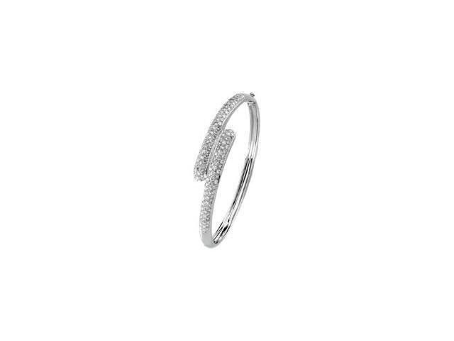 CleverSilver's 14K White Gold Diamond Bangle Bracelet 3 Cttw-