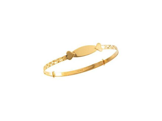 CleverSilver's 14K Yellow Gold Childrens Adjustable Id With Heart Bracelet-