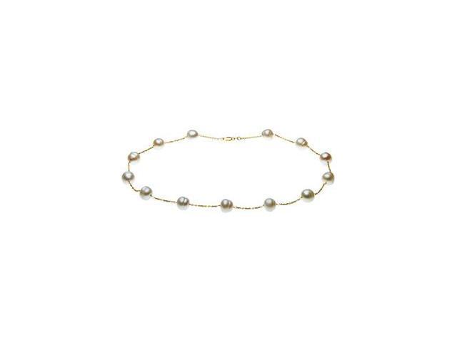CleverSilver's 14K Yellow Gold 09.00-11.00 Mm White Freshwater Circle Pearl Station Bracelet-