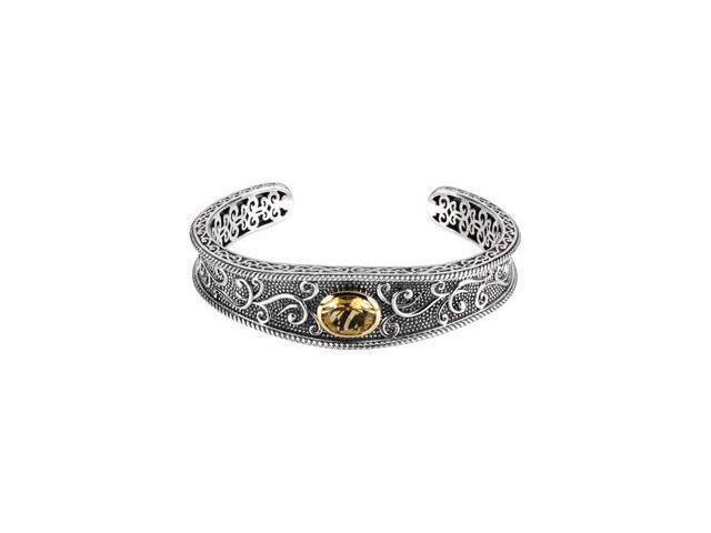 CleverSilver's Sterling Silver & 14K Yellow Gold Genuine Honey Quartz Bracelet-