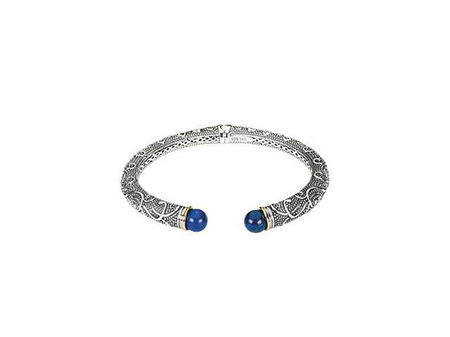 CleverSilver's Sterling Silver & 14K Yellow Gold Genuine Lapis Cabachon Bracelet-