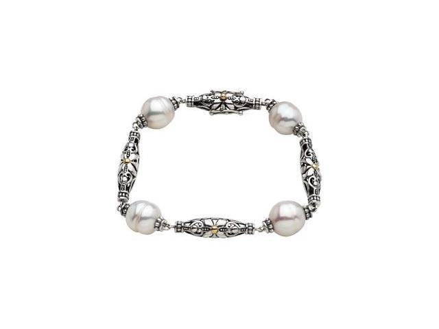 CleverSilver's Sterling Silver & 14K Yellow Gold Freshwater Cultured Pearl Bracelets-