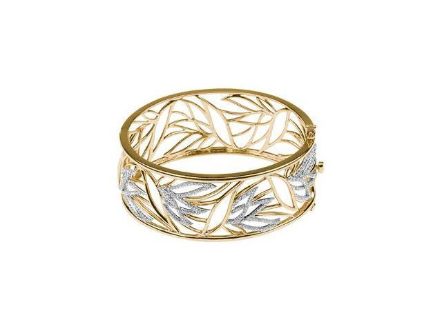 CleverSilver's 14K Yellow And White Gold 14Ktt Diamond Bangle Bracelet1/2 Ct Tw-