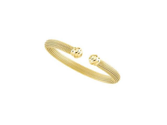 CleverSilver's 14K Yellow Gold Mesh Cuff Bracelet-