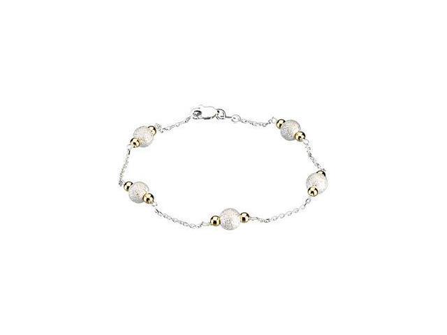 CleverSilver's Sterling Silver & 14K Yellow Gold Bead Bracelet-