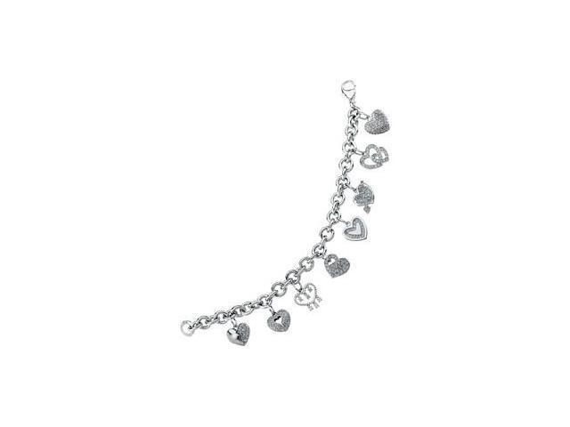 CleverSilver's Sterling Silver Cubic Zirconia Heart Bracelet-