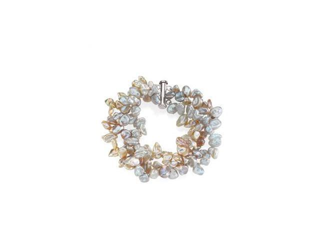 CleverSilver's Sterling Silver Freshwater Keshi Multi-Color Cultured Pearl Bracelet-