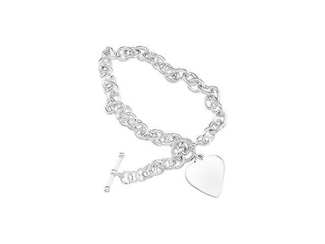 CleverSilver's Sterling Silver Cable Bracelet W/Toggle & Hear-