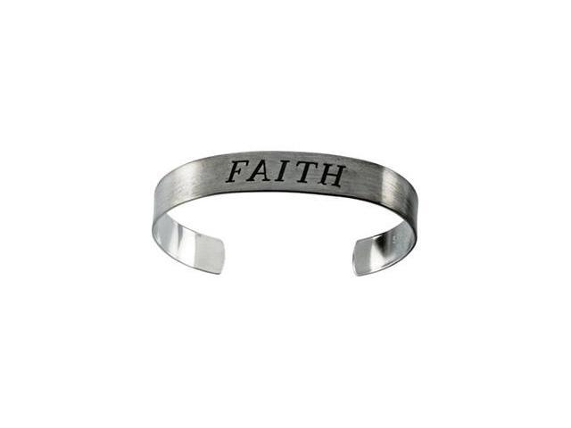 CleverSilver's Sterling Silver Antiqued Faith Cuff Bracelet-