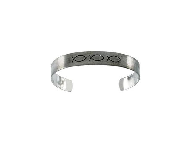 CleverSilver's Sterling Silver Antiqued Fish Cuff Bracelet-