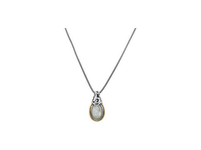 CleverSilver's Sterling Silver & 14K Yellow Gold Genuine Mother Of Pearl Necklace 13.00X09.00 Mm