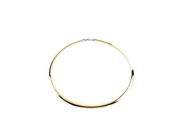 CleverSilver's Sterling Silver & 14K Yellow Gold 0 6. 0 0 Mm Sterling_14Ky Reversible Omega8. 0 0 Inch