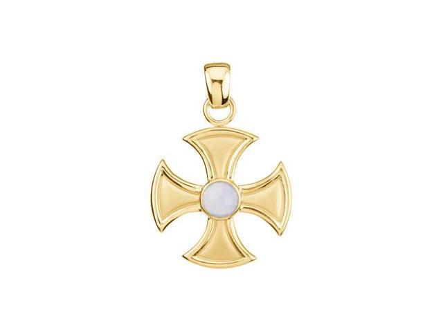 CleverSilver's Stainless Steel Maltese Cross With Chalcedony 39.00Mmx29.00Mm