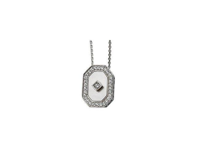 CleverSilver's Sterling Silver Genuine Mother Of Pearl And Cubic Zirconia Necklace 13.00X09.00 Mm