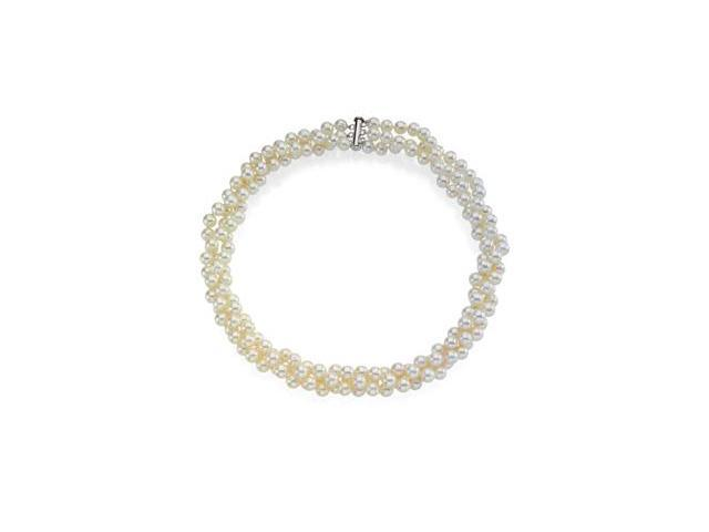 CleverSilver's Sterling Silver Freshwater White Cultured Pearl Necklace 07.00 - 08.00 Mm/22.00 Inch