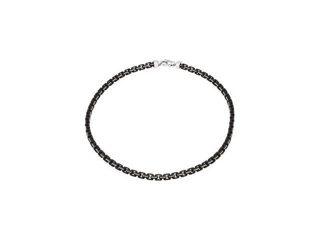 Sterling Silver Chain With Black Lacquer