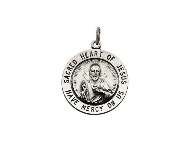 CleverSilver's Sterling Silver Sacred Heart Of Jesus Medal With 24 Inch Chain 22.00 Mm