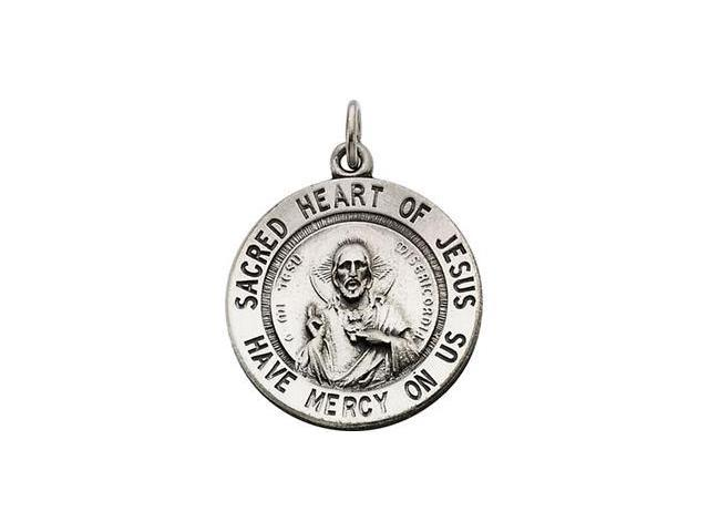 CleverSilver's Sterling Silver Round Sacred Hrt Of Jesus Pnd Medal With 18 Inch Chain