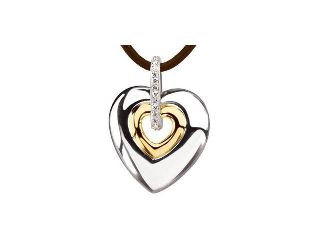 CleverSilver's Sterling Silver & 14K Yellow Diamond Heart Pendant On 18