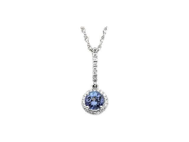 CleverSilver's 14K White Gold Genuine Tanzanite & Diamond Pendant This Item Is Approximate 3.2