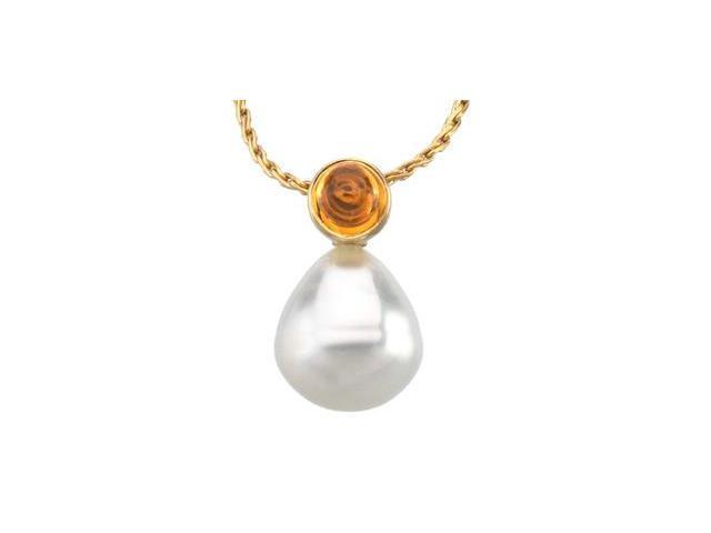 CleverSilver's 14K Yellow Gold South Sea Cultured Pearl & Genunine Citrine Pendant 06.00 Mm/11.00 Mm Fine Circle
