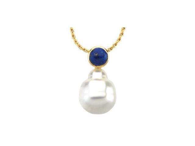 CleverSilver's 14K White Gold South Sea Cultured Pearl & Genuine Lapis Pendant 06.00 Mm/12.00 Mm Fine Circle