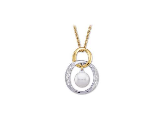CleverSilver's 14K Yellow Gold With White Gold Two Tone Akoya Pearl And Diamond Necklace 07.50 Mm/ 1/6 Cttw
