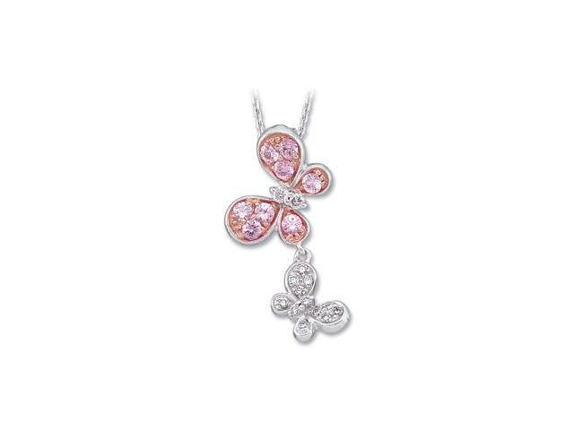CleverSilver's 14K White Gold 14Kwith Rose Gold Plated Genuine Pink Sapphire And Diamond Necklace 1/10Cttw