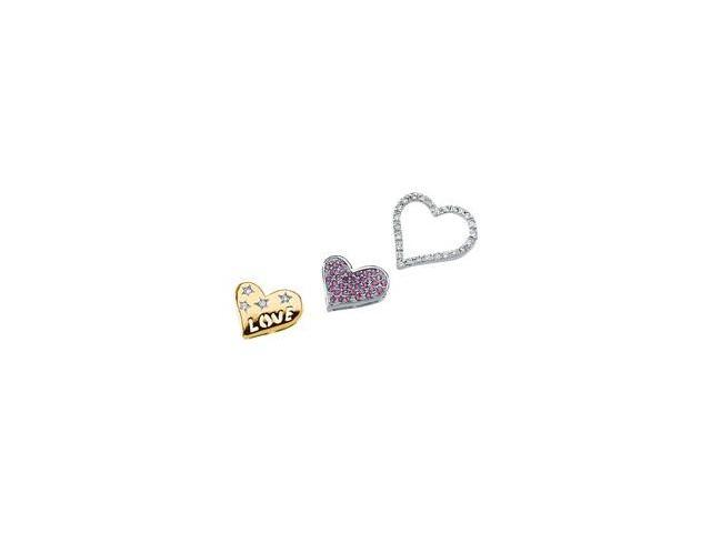 CleverSilver's 14K White/Yellow Gold Two Tone Genuine Pink Sapphire And Diamond Pendant Slide  2.8