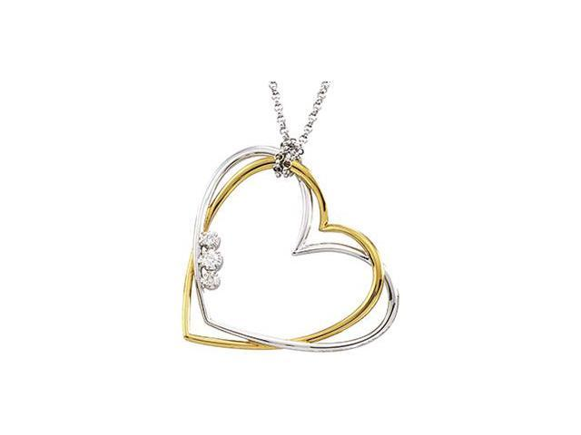 CleverSilver's 14K White Gold And Yellow Gold Two Tone Diamond Heart Necklace Rhodium Ium Plated .07Cttw