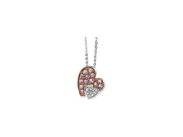 CleverSilver's 14K White Gold 14Kwith Rose Rhodium Ium Plated Genuine Pink Sapphire And Diamond Necklace .05 Ct Tw