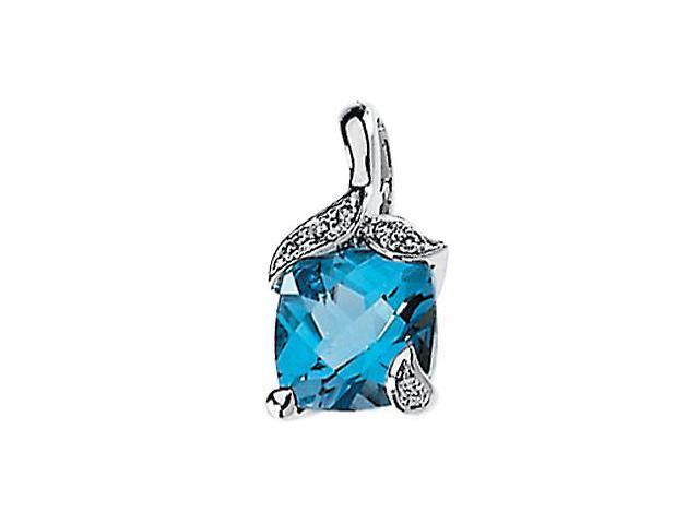 CleverSilver's 14K White Gold Genuine Swiss Blue Topaz And Diamond Pendant