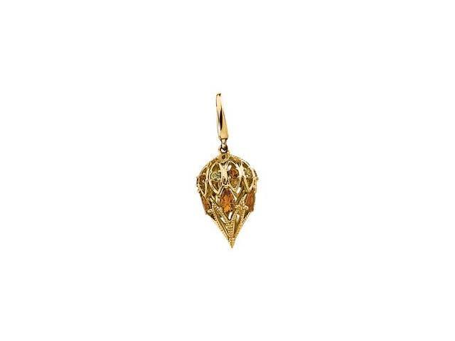 CleverSilver's 14K Yellow Gold Genuine Citrine And Genuine Peridot Charm 0 2. 0 0 Mm, 0 5. 0 0X 0 3. 0 0 Mm