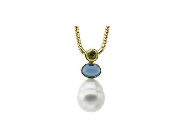 South Sea Sea Cultured Pearl And Genuine Peridot, Genuine London Blue Topaz Pendant