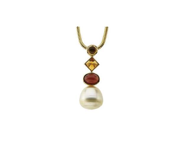 CleverSilver's 14K Yellow Gold South Sea Cultured Pearl, Genuine Citrine, And Genuine Mozambique Garnet Pendant 12.00 Mm/05.00 Mm/05.00 Mm/8X6