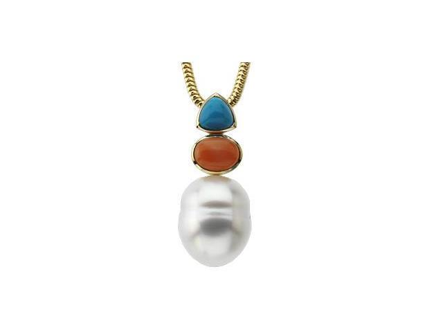 CleverSilver's 14K White Gold South Sea Cultured Pearl, Genuine Turquoise And Genuine Coral Pendant 12.00 Mm/06.00 Mm/08.00X06.00