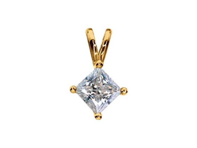 CleverSilver's 14K Yellow Gold Created Moissanite Pendant