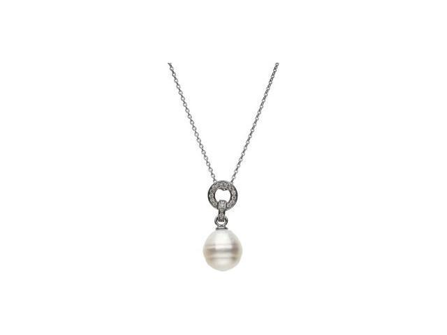 CleverSilver's 14K White Gold South Sea Cultured Pearl And Diamond Necklace 12.00 Mm Circle/1/5 Ct Tw
